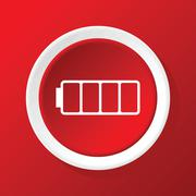 Empty battery icon on red Stock Illustration
