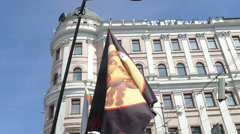 Monarchist banners on a holiday, Victory Day on May 9 in Pushkin Square in 2015 Stock Footage
