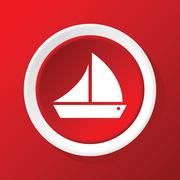 Sailing ship icon on red Stock Illustration