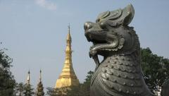Sule Pagoda Building in Rangoon, Burma, Yangon, Myanmar - stock footage