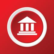 Stock Illustration of Classical building icon on red