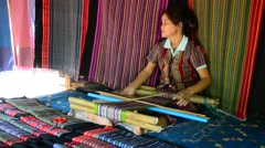 Laos Woman, craft collection, National Ethnic Cultural Park in Tad Pha Suam Stock Footage