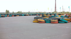 Man racing go-karts on a track Stock Footage