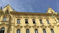 Building on the Ban Jelacic Square in Zagreb, Croatia Stock Footage
