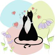 Cats the groom and the bride - stock illustration