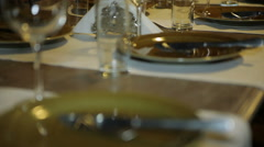Ancient utensils on a table Stock Footage