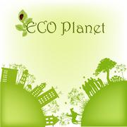 Green ecological planet - stock illustration