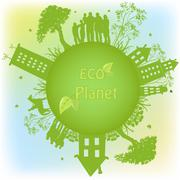 Green ecological planet - stock illustration