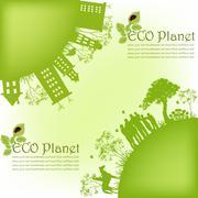 Green ecological planet Stock Illustration