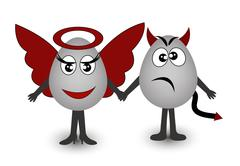 Two amusing eggs angel and demon - stock illustration