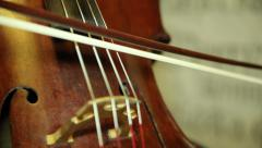 playing the cello, close up. musician playing the cello - stock footage