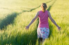 Woman in Barley Field Stock Photos