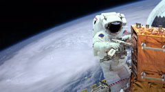 Astronaut working in space earth and hurricane in background Stock Footage