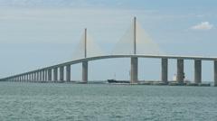4K Sunshine Skyway Bridge and Tugboat 1 Stock Footage
