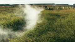 Steaming Grassy Plain in ICELAND Stock Footage