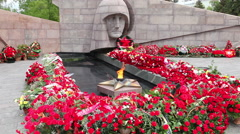 The eternal flame in the memorial complex in Samara, Russia Stock Footage