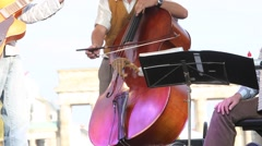 Musician performing on contrabass - stock footage