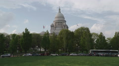 Capitol Building Providence Slow Zoom Stock Footage