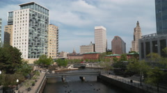 Downtown Providence River Skyline View Stock Footage