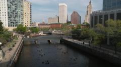 Tilt Up Providence River Stock Footage
