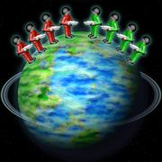 Toy army on Earth globe Stock Illustration