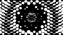 VJ Loop - Flipping black and white hexagons sucked and spit out Stock Footage