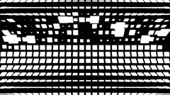 VJ Loop - Grid of randomized black and white square lines folding and rotating Stock Footage