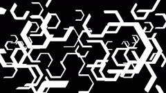 VJ Loop - Moving black and white hexagon shapes scrolling in 3D space - stock footage
