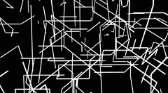 VJ Loop - 3D grid of black and white shooting lines Stock Footage