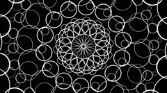 VJ Loop - Concentric circles form into a black and white mandala Stock Footage
