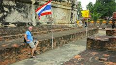 AYUTTHAYA, THAILAND - Buddhist temple courtyard in Ayutthaya Park in Thailand. Stock Footage