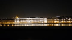 View from the Blagoveshchensky Bridge to Saint Petersburg during the White Stock Footage