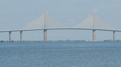 4K Sunshine Skyway Bridge and Jumping Mullet 1 Stock Footage