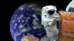Astronaut working in space earth in background - stock footage