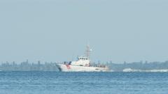4K US Coast Guard Coastal Patrol Boat on Tampa Bay 1 Stock Footage