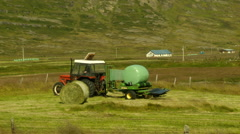 Tractor in the Quite Fields in ICELAND Stock Footage