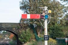 Semaphore Railway Signal in Stop/Danger Position Stock Photos