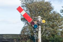 Semaphore Railway Signal in Go/Proceed Position - stock photo