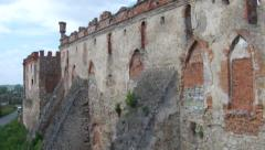 Flying near medieval fortress Stock Footage
