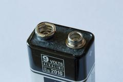 Top of a 9 volt battery - stock photo