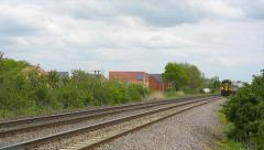 East MidlandsTrains diesel multiple unit passenger train in Cambridgeshire - stock footage