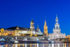 Stock Photo of Dresden skyline at night near river