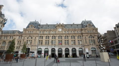 Timelapse of the train station Saint Lazare in Paris Stock Footage