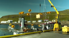 Fishing Vessel Unloads its Catch in North Iceland Stock Footage