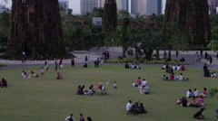People sitting on the field in the park Gardens by the bay - stock footage