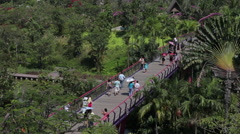 People are walking in the park Gardens by the Bay, Singapore - stock footage
