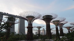 People sitting on the field in the park Gardens by the Bay Stock Footage