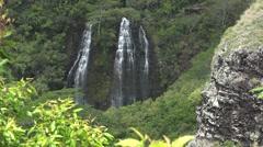 Opaekaa Falls on the island of Kauai, Hawaii Stock Footage