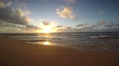 Sunrise on Kapaa Beach on the island of Kauai, Hawaii Stock Footage