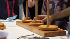 Towers of Hanoi puzzle. Stock Footage